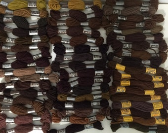 Vintage Laine DMC Skeins Mixed Lots of Colbert Tapisserie and Floralia 50 Skeins Assorted Shades of Browns