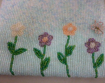 Spring FLOWERS Blooming, Beaded Purse, with Butterfly, Beaded Handle, Valerie Stevens, Lined, So Pretty