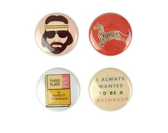 Royal Tenenbaum button Set! Wes Anderson, Three Plays, Margot, Eli Cash, Richie, Owen Wilson
