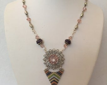 Fanciful Jeweled Necklace with Filigree