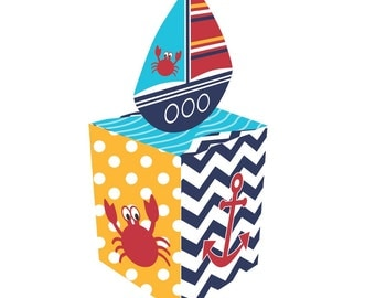 Box of 48 Nautical Favor Boxes ~ Shower ~ Ahoy Baby! ~ Boats~  Great Value!