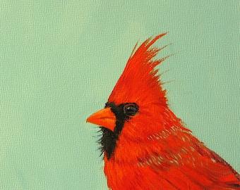 Male Cardinal origina lacrylic painting bird painting small turquoise background