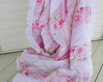 sunshine roses full bloom pink w pink minky backing shabby chic blanket eyelet lace