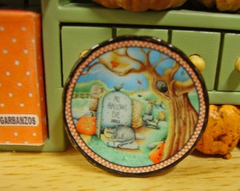 All Hallows Eve Halloween Miniature Plate for Dollhouse 1:12 scale