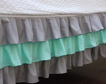 Green Three Tier Ruffle Crib Skirt, Green And Grey Ruffles, Neutral Crib Bedding, Made To Order