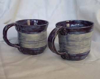 Set of Mugs in Pansy Purple and Chambray (shades of light and dark purple) With a Ribbed Accent Around the Middle