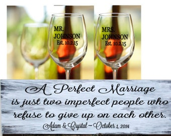 Wedding gift set - Personalized wood sign plus a set of personalized wine glasses