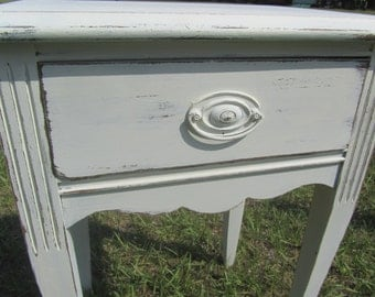 Shabby chic side table, nightstand ,vintage side table, end table,table, farmhouse decor, fixer upper, distressed white furniture, bedroom