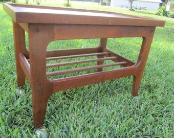 Vintage Rolling TV Cart, rolling table, Teak Side Table, vintage table, bar cart, office decor, wood table, casters,