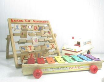 FISHER PRICE TOYS, pull a tune, xylophone,truck, alphabets, vintage toy, wood toy,