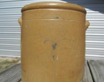 Antique Crock, 2 gallon, Ceramic Crock, Blue Design, Tan Crock, Pottery Crock, Dark Brown Inside