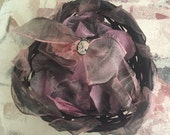 Victorian Goth Flower Girl Heart Basket Black and Pink with black and pink Silk Petals removable goth lolita cameo charm
