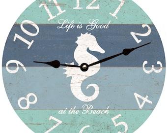 Seahorse Clock- Life is Good at the Beach Clock