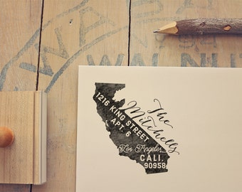 California Return Address State Stamp - Personalized Rubber Stamp