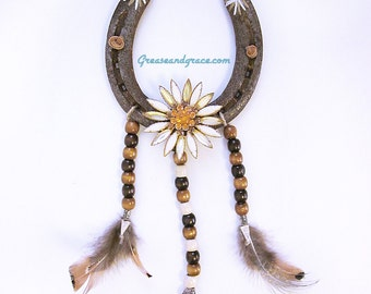 Horseshoe Wall Decor with Vintage Jewelry, Native American- Dreamcatcher