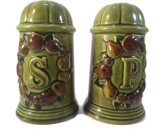 Vintage Salt and Pepper Shakers by Los Angeles Potteries - Large Ceramic Olive Green Salt and Pepper Shakers