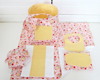 Baby Doll Diaper Bag with Blanket/Burp Cloth/Wipes Case/Diaper/Bib/Baby Doll Bag