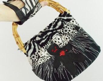 VooDoo Doll purse / skull handbag bamboo handles/ tiki purse/ rockabilly handbag