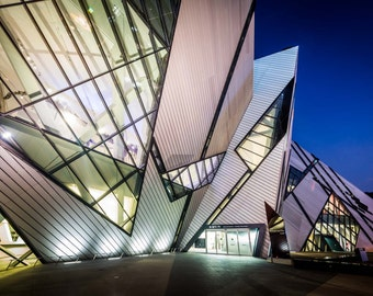 The Royal Ontario Museum at night, in the Discovery District, Toronto, Ontario. | Photo Print, Stretched Canvas, or Metal Print.