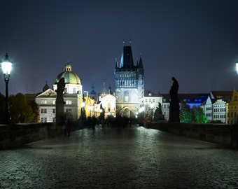 The Charles Bridge at night, in Prague, Czech Republic - Photography Fine Art Print or Wrapped Canvas