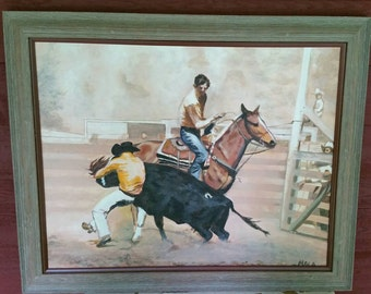 Vintage oil, western theme, cowboy, cowboy roping