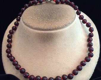 Vintage Deep Red Glass Beaded Toggle Necklace