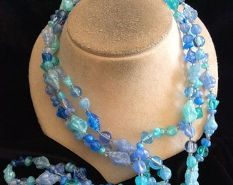 Vintage Chunky Long Triple Stranded Shades Of Blue Beaded Necklace
