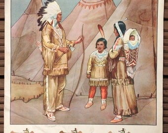 Vintage School Poster - A Red Indian Family