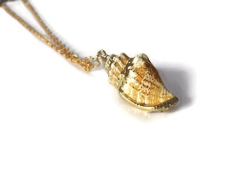 Gold Edged Shell Necklace, Gold Leaf Detail, Summer Gift, Seaside Gifts, Gift for Her, Gifts for Women, Handmade Jewellery, Nautical Jewelry