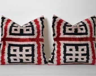 Velvet Ikat Pillow Covers Set Of 2 - Soft Velvet Handwoven Red Wine Black Decorative Pillow For Couch Ikat Cushion Cover Livingroom Decor