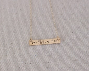 Beautiful Gold Necklace, BeYoutiful Necklace, Be You Necklace, Gold-Fill Be You, Be Yourself Jewelry, Be You, BeYOUtiful