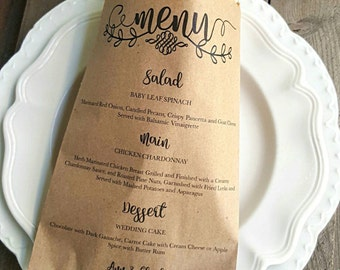Favor Bags- Wedding Menu Favor Bags- Candy Buffet- Dessert Table-Guest Bags-Gift Bags