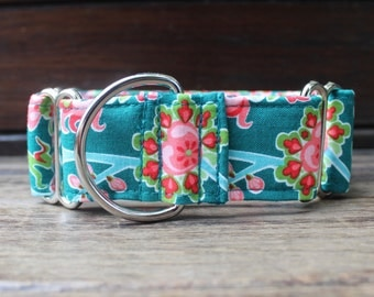 Teal Martingale Dog Collar in Pink Paisley for Girl Dog. Can be made into a Buckle or Martingale Collar. PLEASE READ Item Details