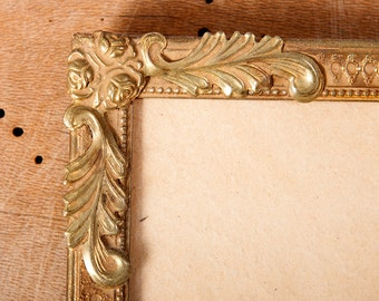 vintage frame 30-40s picture danish golden brass yellow metal convex glass home decor french wall