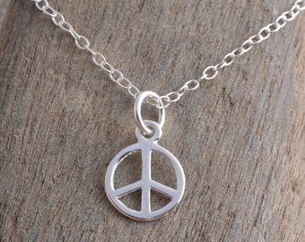 Peace charm necklace sterling silver 925 CND peace charm pendant necklace