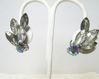 Rhinestone Clip On Earrings With Smokey Grey, AB & Clear Rhinestones / Silver Tone