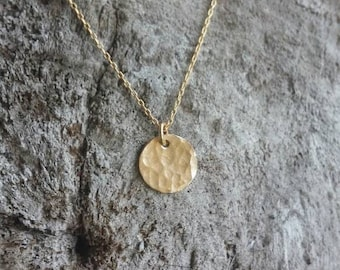 Tiny Gold necklace, hammered Circle, layering necklace, gold fill, tiny necklace, tiny charm necklace, hammered