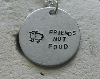 "Friends not food sheep necklace - vegan veggie jewelry - animal rights jewellery - handstamped 25mm pendant on 18"" chain"