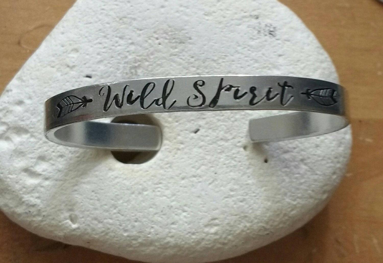 Wild spirit meditation word bracelet with lotus flower adjustable -handstamped