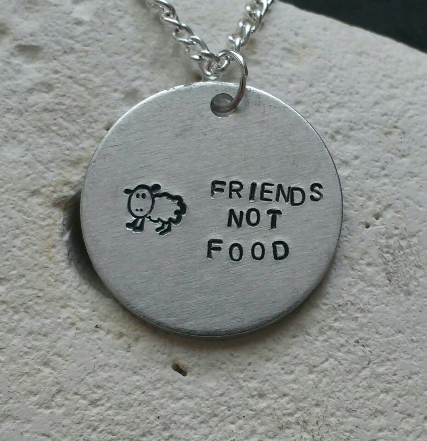 """Friends not food sheep necklace - vegan veggie jewelry - animal rights jewellery - handstamped 25mm pendant on 18"""" chain"""