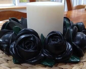 Painted Ceramic Black Rose with Green Leaf Pillar Candleholder