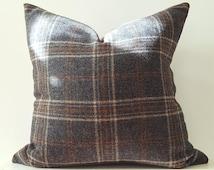 12x24 Lumbar Wool Plaid Pillow Cover