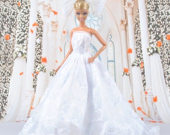 Handmade White Lace Formal Princess Dress Wedding Party Clothes For Barbie Doll