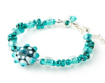 CORALLIA'S Malachite bracelet – lampwork glass
