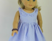 "Lavender Dot Dress and Hair Accessory for 18"" Dolls, American made girl doll outfit, sleeveless party dress, with Hair Bow"