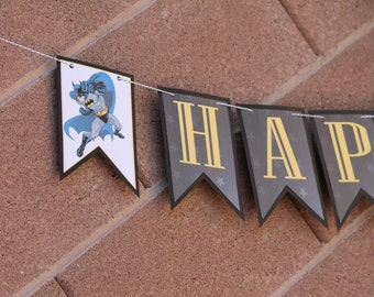 Personalized Batman Party Decorations Banner - FULLY ASSEMBLED - Birthday - Superhero - Party - Celebration - Themed - Photo Shoot