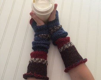 Blue Stripes Knit Fingerless Gloves - Extra Long