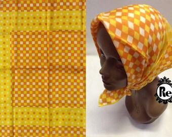 Vintage Scarf Yellow Orange & White Squares with Pok-a-Dot Print Scarf Retro Fashion Head Scarf No. 31