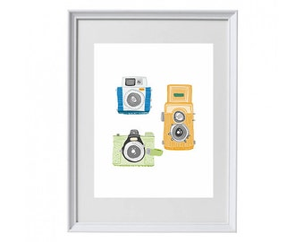 Vintage Cameras, Colourful Illustration, Collectables and Printables