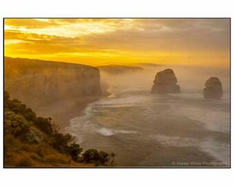 Golden sunrise, Landscape photography, Fine Art print, Ready to frame, Home decor, Wall hanging, Ocean, Sunrise, Australian, Light